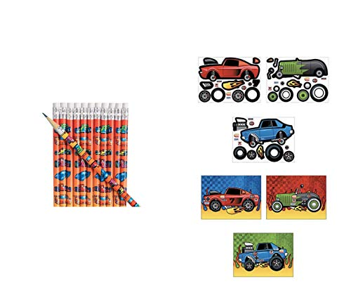 24 RACE CAR Party Favors ~ 12 MAKE A RACE CAR Sticker Sheets & 12 Wooden Race Car Pencils - Birthday Parties - Classroom Activity TEACHER Rewards MOTIVATION