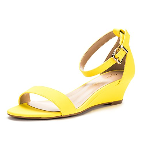 DREAM PAIRS Women's Ingrid Yellow Nubuck Ankle Strap Low Wedge Sandals - 7 M -