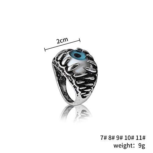 MNEFEL Uomo in Acciaio inossidabile artiglio Male Diavolo occhio gotico Biker anello di gioielli Cool Party ()