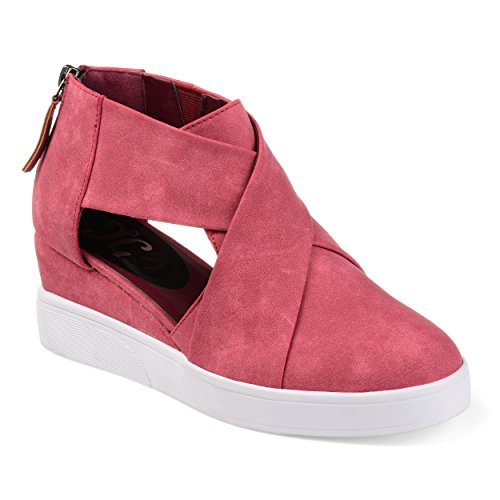 Journee Collection Womens Athleisure Criss-Cross D'Orsay Sneaker Wedges Pink, 12 Regular US