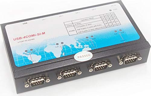 Rail Quad Metal - Titan Four Port USB to RS-422 or RS-485 Selectable Industrial Serial Adapter with Optical Isolation and Surge Protection, Metal, DIN-rain Mountable