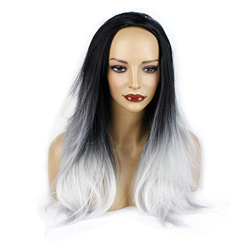 Ladies 3/4 Half Wig - Black/Silver Grey Ombre - Straight Style - 22 Inches - 250g - Kanekalon Synthetic Fibre - Clip in Hair Piece - Looks and Feels Like Real Hair - by Elegant -
