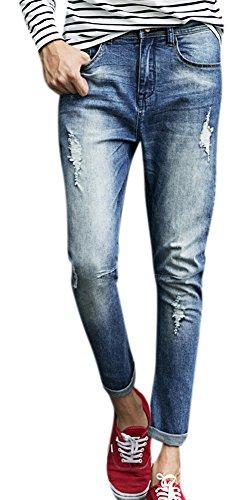 Men's Stretch Distressing Blue Ripped Skinny Slim Leg Fit Denim Jeans Pants 29