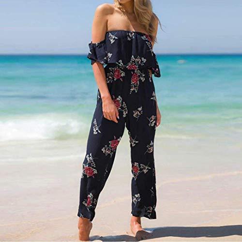 10 couleur Femme femmes Marine Maxi Combinaison Combinaison 8 Sarouel taille dénudées en soirée Boobtube taille grande pour en M Sea Floral jersey épaules Zhrui de vrac d'été à pwdqCwB