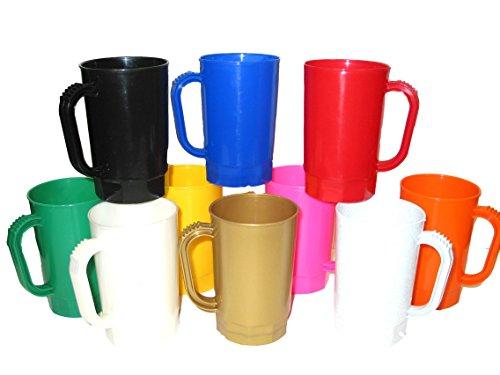 Talisman,Plastic Beer Mugs, 1 Pint, Pack 75, Mix Opaque Colors