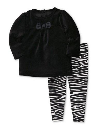 Carter's Infant Girl 2 Piece Black Velour Shirt Zebra Print Stretch Pants Set 12m