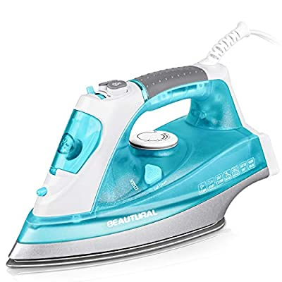 BEAUTURAL 1800 Watt Steam Iron for Clothes with Precision Thermostat Dial, Double Layered and Ceramic Coated Soleplate, 3-Way Auto-Off, Self-Cleaning,Anti-Calcium, Anti-Drip Aqua