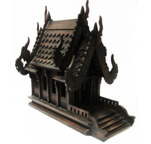 Thai Spirit House (Large Size) hand made wood carving Thai Vintage Design by Sandeko