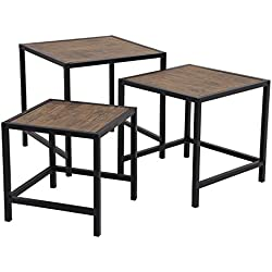 SONGMICS Nesting Coffee Table Set of 3, End Side Table, Nightstand Modern Decor for Living Room, Small Space, Rustic ULNT03BX
