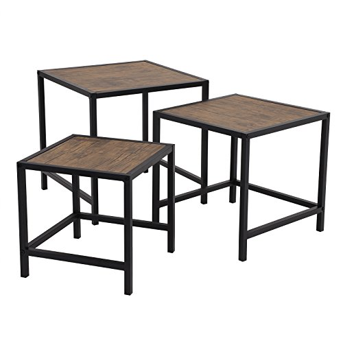 SONGMICS Nesting Coffee Table Set of 3, Industrial End Table Set, Modern Decor for Living Room, Small Space, Rustic, (Modern Nesting Table)