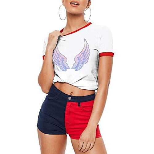 Baby Angel Wings Rainbow Art Women's T-Shirts Soft Fishing Cotton Short Sleeve T-Shirt