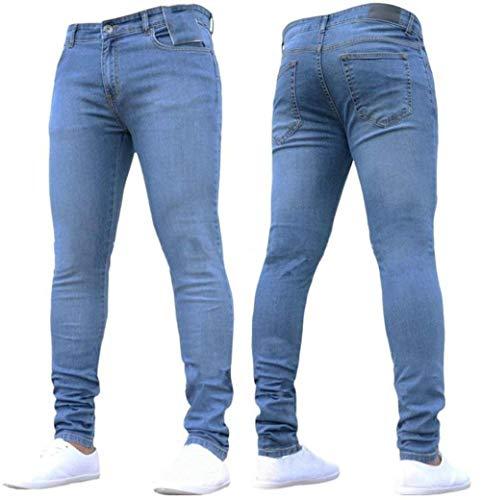 Pantaloni Dritti Basic Elasticizzati Stretch Slim Battercake Uomo Jeans Comodo Aderenti Hellblau qcWzgtB