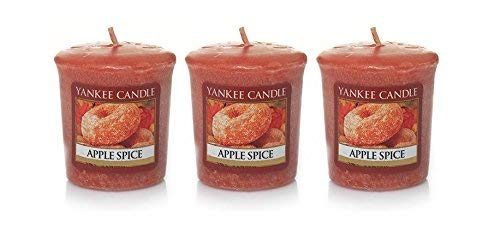 (Yankee Candle Lot of 3 APPLE SPICE Sampler Votive Candles 1.75 oz Each )