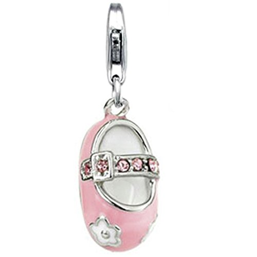 Jovana Sterling Silver Links Charm Girl Baby Shoe Pink Enamel Pink Swarovski Crystal, Lobster clasp -