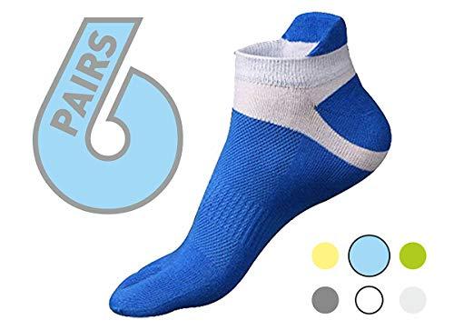 (Five finger toe socks blue 6 pack. For sports, running, athletic, walking, yoga)