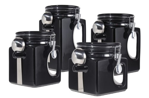 (Oggi EZ Grip Handle Ceramic 4 Piece Canister Set,)