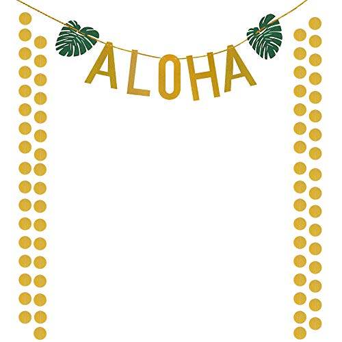Aloha Beach Decor - Supla Aloha Banner Aloha Party Decorations Aloha Sign Garland Glittery Tropical Party Supplies for Summer Birthday Beach Hawaiian Aloha Theme Party Luau Party Bridal Shower Bachelorette Party