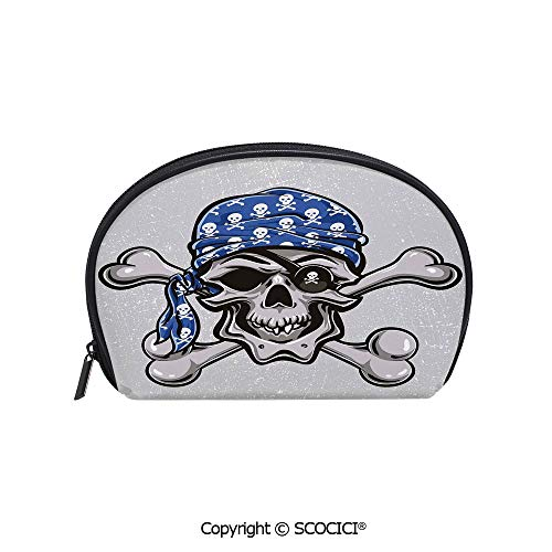 SCOCICI Printed Small Size Storage Makeup Bag Scallywag Pirate Dead Grunge Horror Icon Evil Sailor Crossed Bones Kerchief for Women Girl Ladies]()