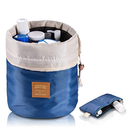 - Travel Cosmetic Bags Barrel Makeup Bag,Women&Girls Portable Foldable Cases,Euow Multifunctional Toiletry Bucket Bags Round Organizer Storage Pocket Soft Collapsible,Waterproof.(Deep blue)