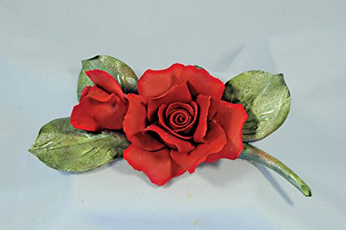 Capodimonte Red Rose with Bud