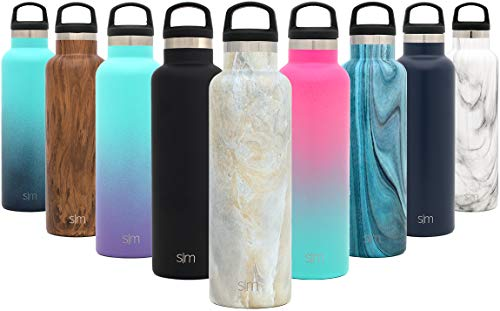 Simple Modern 20oz Ascent Water Bottle - Hydro Vacuum Insulated Tumbler Flask w/Handle Lid - Double Wall Stainless Steel Reusable - Leakproof Pattern: Sandstone