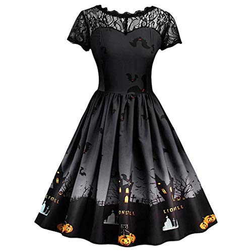 Women Halloween Lace Dress Fashion Vintage Gown Printed Pleated Swing Midi Dress Stitched A-line Cocktail Dress(Black,4)]()