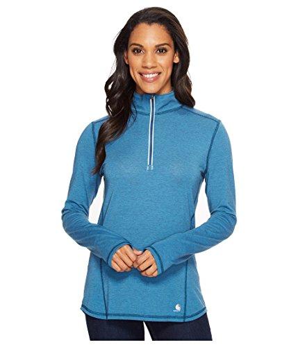 Womens Sleeve Tractor Long - Carhartt Women's Force Ferndale Quarter Zip Shirt, Stream Blue Heather, Small