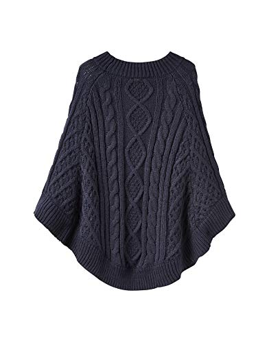 Para Navy French Grueso Claudie z Mujer Poncho Cable Joules q1tSzt