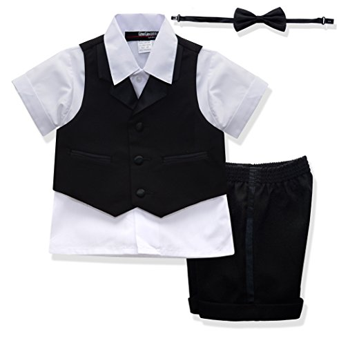 G224 BABY AND TODDLER BOY SUMMER TUXEDO SHORT SET BLACK (X-Large (18-24 months)) by Gino Giovanni