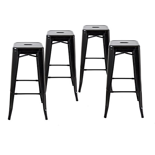 Buschman Metal Bar Stools 30 Bar Height, Indoor Outdoor and Stackable, Set of 4 Black