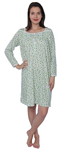 Beverly Rock Women's Floral Long Sleeve Nightgown Available in Plus Size 650B Green XXL