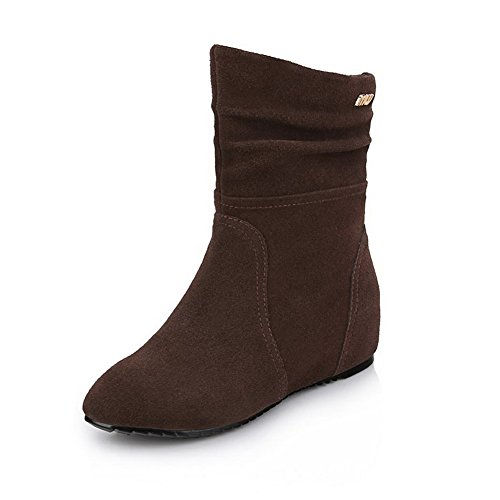 AmoonyFashion Toe Sole Heighten with Low Heels Toe Closed Round Slipping and Inside Brown Womens Boots grqvEr