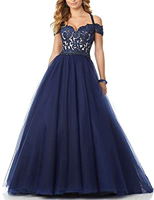DarlingU Women's Beaded Off-Shoulder Halter Prom Evening Dress Party Gown DPM830