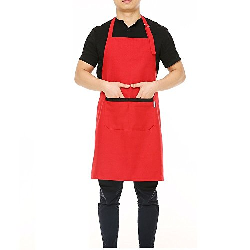esonmus Adjustable Kitchen Chef Apron Multi-Purpose Kitchen BBQ Restaurant Apron Cooking Grilling Waiter Apron with Adjustable Neck Belt Ultra Long Waist Ties Two Front Pockets for Anyone-Red