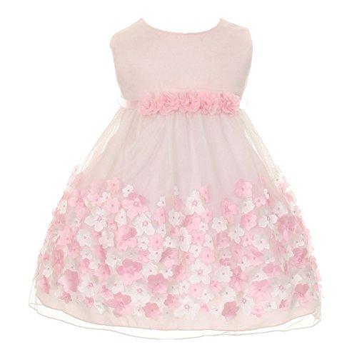 Kid's Dream Baby Girls Pink Taffeta Flowers Sleeveless Easter Dress (Sleeveless Taffeta Wedding Dress)
