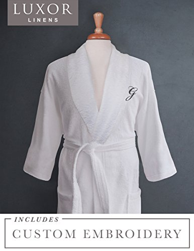 (Luxor Linens - Terry Cloth Bathrobes - 100% Egyptian Cotton - Luxurious, Soft, Plush Durable Set of Robes (1 pc, with Custom Monogram))