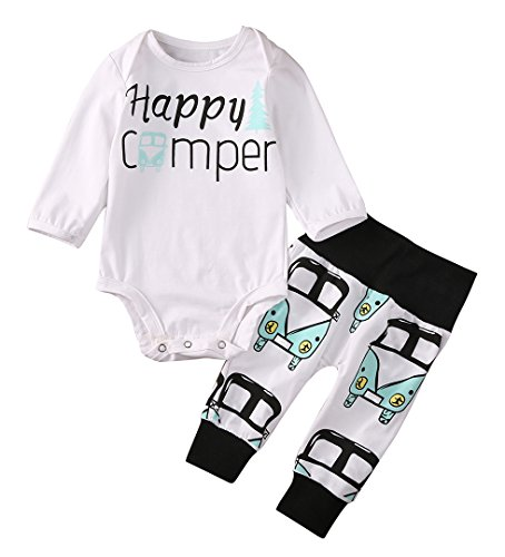 Happy camper and Love Letter Romper Car Pants Hat Bodysuit for Baby Boys Girls (3-6 Months, Happy camper)
