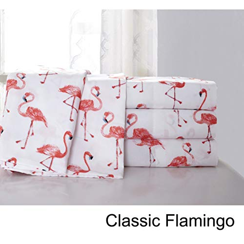 Hedaya Home Fashions Classic Flamingo Tropical Sheet and Pillowcase Set Queen - 1030QNSS4M00000 - Hedaya Home Fashions