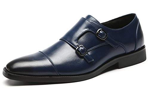 Mens Strap Fashion Shoes for Loafer Dress Leather Blue Shoes Slip Italian Men Double Shoes On Oxford Monk tYwYq5