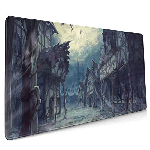 House Halloween Horror Dark Bats Mouse Pad Non-Slip Rubber Mouse Mat, Non-Slip Rubber Base Mousepad for Laptop Space Decor Computer Accessories 16x36 Inches]()