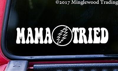"""MAMA TRIED 11.5"""" x 2.5"""" Vinyl Decal Sticker - Grateful Dead Lightning Bolt"""