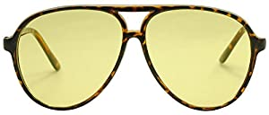 SunglassUP - Oversized 80's Vintage Style Yellow Night Driving Lens Round and Square Sunglasses