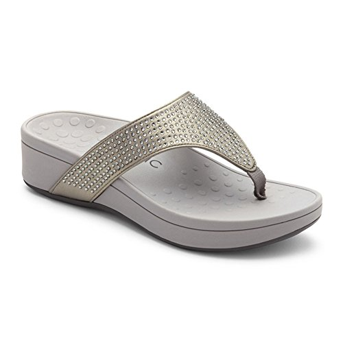 Thong Women's Vionic Arch Pewter Naples Sandal Support Wedge rBTgTqIn