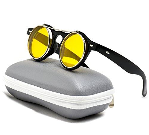 0f1a9ca087 Flip up Cyber Steammpunk Round Circle Retro Sunglasses - Buy Online in  Oman.