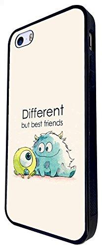 177 - Monsters Different But Best Friends Design iphone SE - 2016 Coque Fashion Trend Case Coque Protection Cover plastique et métal - Noir