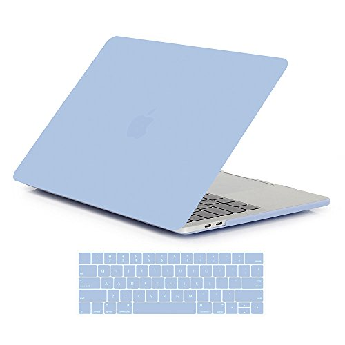 Macbook Pro 13 Case A1706/A1708 Released 2016 & 2017,iDDC Rubberized Hard Case Shell Cover and Keyboard Skin Cover for Apple Macbook Pro 13 Inch with/without Touch Bar and Touch ID(Serenity Blue)
