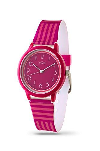 Ovvel Girls Watch – Pretty and Cute Kids Wrist with Teaching Analog Display Time Teacher - Japanese Quartz Movement – Fuchsia and Pink Stripes