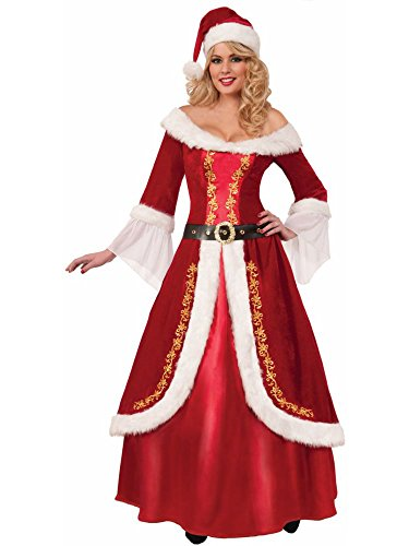 Mrs Claus Dress Adult Costumes (Forum Novelties Women's Premium Classic Mrs. Claus Costume, Multi, One Size)