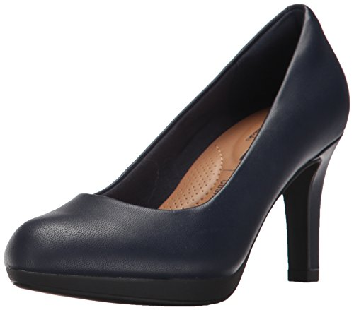 CLARKS Women's Adriel Viola Dress Pump, Navy Leather, 5 M US