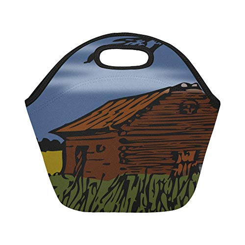 Insulated Neoprene Lunch Bag Barn Cabin Cottage Autumn Large Size Reusable Thermal Thick Lunch Tote Bags For Lunch Boxes For Outdoors,work, Office, School